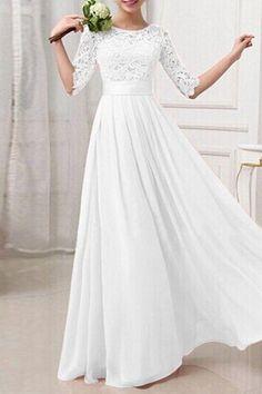 White Plain Hollow-out Long Sleeve Elegant Maxi Dress