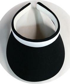 Clip On Midsize Black Brim w/ White band sun visor