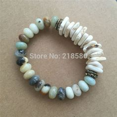 B16061502  Raw Turquoise Chip Beads Bracelets RUSTIC Bracelet Amazonite Beads Rondelles Bracelets
