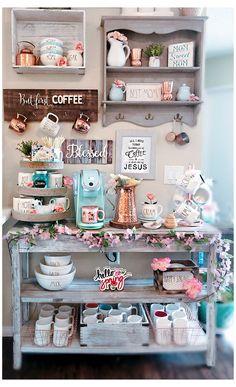 Coffee Bars In Kitchen, Coffee Bar Home, Home Coffee Stations, Coffee Shop, Coffee Area, Coffee Corner, Corner Bar, Coffee Bar Design, Decoration Chic