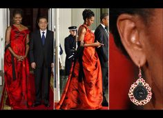 Mrs Obama in red for the Asian delegation