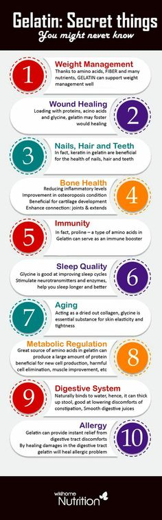 Health Benefits of gelatin:Following are top 10 benefits of gelatin which make it useful addition to people's daily diet.