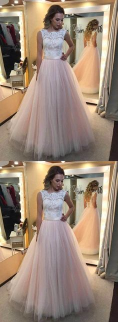 Long Prom Dresses,A Line Prom Gowns,White Prom Dresses,Lace Prom Dresses,Pink Prom Dresses,Pink Tulle Dresses,White/Pink Prom Dress,Evening Dresses,Evening Gowns,Evening Prom Gown,Prom Dresses With Lace Back Up