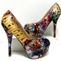 Not wonderwoman but love these. Avengers Comic Book High Heels - Made to Order