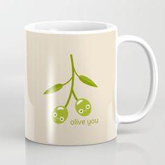 Olive You Mug - pun, puns, olive, olives, branch, peace, fruit, food, funny, cute, love, relationship, tasteful, tasty, relationships, valentine, valentines, vector, art, illustration, drawing, design