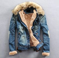 Fashion Mens Winter Jeans Jacket with Fur Collar
