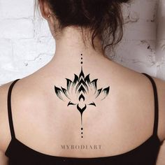 Boho Lotus Back Tattoo Ideas for Women Watercolor Simple Tribal Black Floral Flo. - Boho Lotus Back Tattoo Ideas for Women Watercolor Simple Tribal Black Floral Flower Spine Tat – i - Lotusblume Tattoo, Tattoo Hals, Mandala Tattoo, Back Tattoo, Real Tattoo, Type Tattoo, Wrist Tattoo, Mini Tattoos, Flower Tattoos