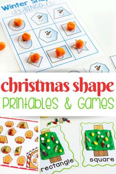 Try These Christmas Shape Printables For Kindergarten And Preschool Math Activities You Kids Will Love These Christmas Matching Games, Play Dough Activities, Bingo, And Shape Printables These Activities Are So Fun For The Holiday Season. Preschool Christmas Activities, Playdough Activities, Kindergarten Fun, Preschool Printables, Preschool Activities, Shape Activities, Indoor Activities, Winter Activities, Educational Activities