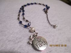 FAITH yes yes open meCrystal necklacecobalt blue with fresh water pearls by ShellB143, $44.00
