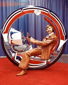 "dieselpunkflimflam: ""Somewhere there's an alternate-historical 1970s in which Ringo Starr and Graham Chapman were hybrid-cloned and sent out to fight crime in Evel Knievel's monowheel. """