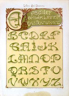 Original French Art Nouveau Color Lithograph by E.Mulier It's elegant and sassy at the same time Motifs Art Nouveau, Design Art Nouveau, Art Nouveau Pattern, Lettering Styles, Lettering Design, Design Typo, Jugendstil Design, Fancy Fonts, Calligraphy Letters