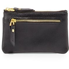 Neiman Marcus Zip-Top Saffiano Leather Card Case/Coin Pouch (690 RUB) ❤ liked on Polyvore featuring bags, wallets, black, coin pouch, credit card holder wallet, coin purse, card case wallet and saffiano leather bag
