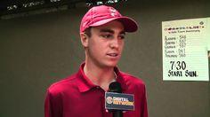 Hannah Chalker talks with the Individual Champion Justin Thomas. Justin Thomas, Arkansas, Alabama, Georgia, Champion, Golf, Turtleneck