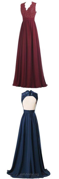 Cheap Prom Dresses Long,A-line Formal Dresses V-neck, Chiffon Party Dresses Lace, Open Back Evening Dresses Modest