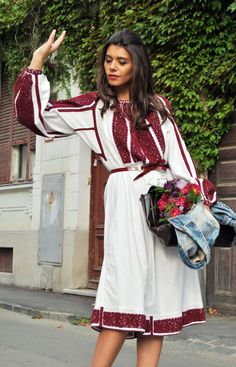 Moldavian Romanian dress inspired from traditional costume embroidery Folk Fashion, Ethnic Fashion, Womens Fashion, Hippie Fashion, Runway Fashion, Ethno Style, Bohemian Style, Embroidered Clothes, Folk Costume