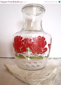 Christmasinjuly Vintage carafe Libbey Red Flowers with Cover in Gass Limonade Pitcher  or Juice House Ware  Patio Ware  Glass