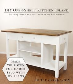 Build a DIY Open-Shelf Kitchen Island – Building Plans by Build Basic @BuildBasic www.build-basic.com