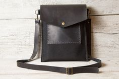 Hand stitched wool felt and leather iPad Air messenger bag in black