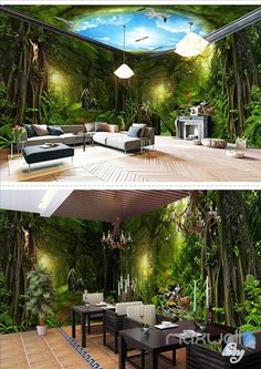 Fototapete Deep forest forest theme space entire room wallpaper wall mural decal – IDecoRoom Kids Be 3d Wallpaper For Walls, Floor Wallpaper, Forest Wallpaper, Adhesive Wallpaper, Forest Mural, Forest Theme, Forest Decor, Wall Mural Decals, Boho Living Room