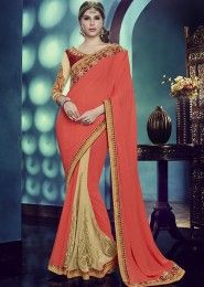 Designer Orange And Beige Colored Chinnon And Net Saree