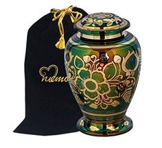 Home Decorators Collection | Emerald Green Cremation Urn  Green Urn with Gold Accents  Adult Funeral Urn Handcrafted and Engraved  Affordable Urn for Ashes  Large Urn Deal >>> Check this awesome product by going to the link at the image.(It is Amazon affiliate link) #denver
