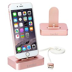 Apple iPhone Charger Stand [Stable Pure Aluminum Rose Gold iPhone Charger Desktop], Lecxci iphone Charging Dock Cradle [Docking Station] for iphone 6s / 6 plus / 5s / 5 / 5c (Rose Gold for iPhone) | Top tablets guide d'autres gadgets ici : http://amzn.to/2kWxdPn
