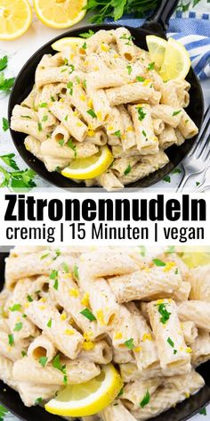 Zitronennudeln The lemon noodles are super creamy, filling and so yummy. And the pasta recipe is super easy and ready Veggie Recipes, Lunch Recipes, Healthy Dinner Recipes, Pasta Recipes, Vegetarian Recipes, Healthy Dishes, Healthy Meals, Lemon Pasta, Delicious Vegan Recipes