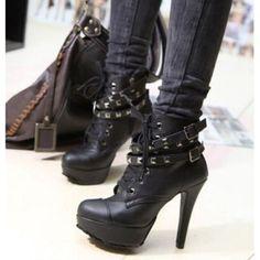 Women/'s Punk à Lacets Combat cheville Martin Bottes en simili cuir Plat Chaussures SN