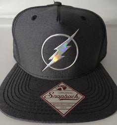 0c61aca8c2942 The Flash Logo DC Comics Iridescent Weld Woven Fabric Snap Back Hat Nwt   DCComics