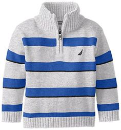 Nautica Baby Boys' Quarter Zip Engineered Stripe Sweater with Indigo Marl, Grey Heather, 18 Months Knit Baby Sweaters, Toddler Sweater, Knitted Baby Clothes, Boys Sweaters, Casual Sweaters, Boys Knitting Patterns Free, Baby Knitting, Mens Fashion Sweaters, Men Sweater