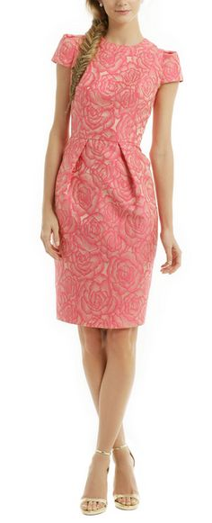 Such a lovely Carmen Marc Valvo pink Rosette envelope dress.