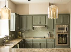 Green Kitchen Cabinets Painted Kitchen Cabinets My Kitchen Cabinets Need Repainted Maybe This Color Sage Green Kitchen Cabinet Ideas Sage Green Kitchen, Green Kitchen Cabinets, Farmhouse Kitchen Cabinets, Kitchen Cabinet Colors, Kitchen Paint, Kitchen Redo, Kitchen Colors, Kitchen Remodel, Wood Cabinets