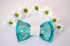 Embroidered bowtie. Great gift for him Handmade groomsman bowtie. Lovely color and sweet pattern give you stylish look.  Colour: turquoise Pattern: beige Size:7*12 cm/2,7'' * 4,7'' inches   You will receive bow ... #bowtie #accessories #hipster