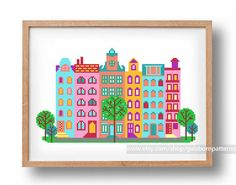 Cute Amsterdam houses cross stitch pattern Netherlands Europe embroidery pattern stitched city landscape travel diy craft xstitch