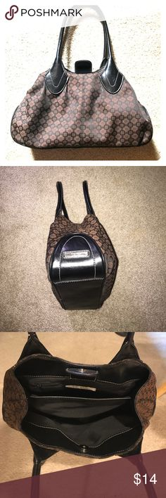 Nine West purse, gently used, black & brown Nine West purse, gently used, great condition, black & brown. Bottom of purse is same material as handles, and measures 13.5 x 4 inches. Two compartments plus zippered pouch inside. Nine West Bags
