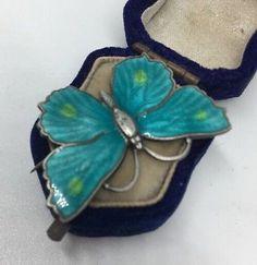 Antique Vintage Unusual Norwegian Enamel Butterfly Brooch Blue