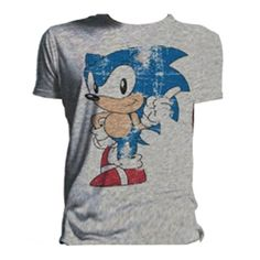 Sonic The Hedgehog Men's Distressed Wagging Finger T-Shirt (Grey)
