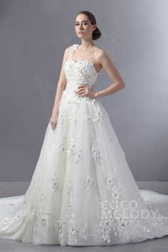 Modest Ball Gown One Shoulder Cathedral Train Tulle Wedding Dress CWZT13001 #weddingdresses #cocomelody
