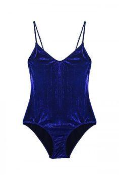 Maillot de bain lamé 1 pièce bleu nuit Roseanna