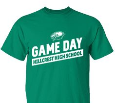 High School Impressions search HS-077-W; Hillcrest Game Day Spirit Wear T-Shirts- Create your own design for t-shirts, hoodies, sweatshirts. Choose your Text, Ink and Garment Colors.