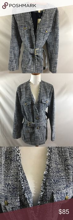 Michael Kors tweed belted jacket NEW! Size 14 Michael Kors tweed belted jacket. Size 14. New with tags. Lined. Length 32, bust approximately 18. 100 percent polyester. Dry clean. Thanks for looking. Happy Poshing. MICHAEL Michael Kors Jackets & Coats