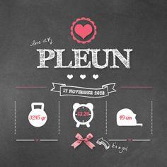 PLEUN - Industrieel geboortekaartje van 'Het Uilennestje' voor een meisje/ dochter.  www.hetuilennestje.nl  Old school, industrieel, stoer, schoolbord, chalkboard, strikje, hartje, label, antraciet, wit, roze.