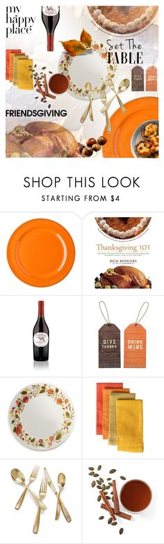 """""""Gather 'Round: Friendsgiving"""" by lacas ❤ liked on Polyvore featuring interior, interiors, interior design, home, home decor, interior decorating, Primitives By Kathy, Sur La Table, Nambé and table"""