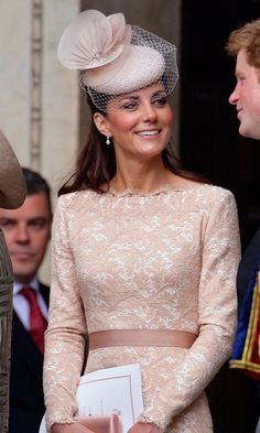 Sporting a feminine, net-trimmed fascinator, the Duchess was demure and sophisticated while attending the Queen's Thanksgiving service at St Paul's Cathedral.