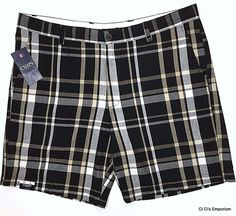Chaps Plaid Shorts Mens 40 Black Gray Tan Flat Front Classic Fit Preppy Golf  #Chaps #FlatFront