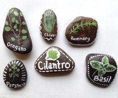 Painted Garden Marker Rocks