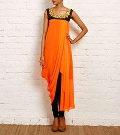 Orange Georgette and Dupion Silk Dress, by Nidhika Shekhar Western Dresses, Indian Dresses, Indian Outfits, Indian Fashion Salwar, Ethnic Fashion, Draped Dress, Silk Dress, Kurtha Designs, Pakistan Fashion