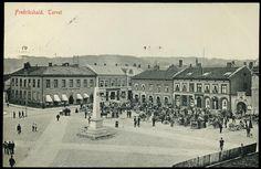 Østfold fylke Halden Fredrikshald FREDRIKSHALD. Torvet. Med mange hestekjerrer, hester og folk. Eneret E. Sem, Halden Brukt 1911