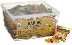 Haribo Gold-Bears Minis 72-Count Bags. From #Haribo . List  Price $15.00 Price $12.88 Availability Usually ships in 1-2 business daysShips . From #and sold by Candies Shipped4 new or used available . From #$12.00 Average customer review  17 customer reviews