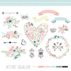 DIY Wedding Invitations  Wedding Floral clipart Digital Wreath Floral by GraphicMarket, $4.99